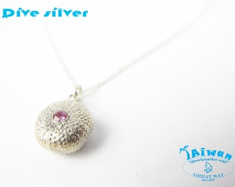 Diving silver-- 925 sterling silver Sea urchin pendant with diamond / necklace / diving / handmade / Great Way Taiwan / ocean