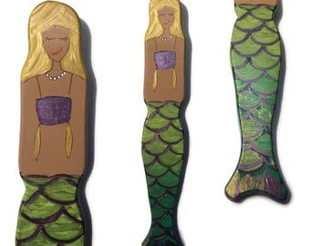 Mermaid Wall Art - Hand Painted Metallic Green Fins with Purple Fish Scale Design - Blonde - Brunette - Red Head - Wall Decor