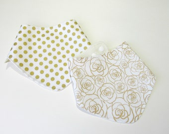 Bamboo bibs-Bibs for girls-Bandana bibs-Baby girl gold polka dot bib-Gold floral bib-Girl bibs-Baby shower gift