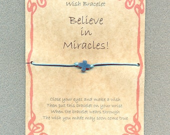 Handmade Gift card, Believe in Miracles Wish Bracelet. Cross charm, cotton waxed cord.