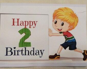Handmade Greeting Card, Boys  Birthday Card with Number,  Childrens Birthday Greeting Card, Made in the USA, #4
