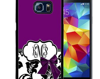 Monogrammed Rubber Case For Samsung S5, S6, S6 edge, S6 Edge Plus, S7, S7 Edge,  8, 8 plus - Purple Damask Bow