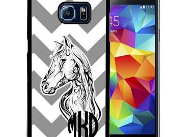 Monogrammed Rubber Case For Samsung S5, S6, S6 edge, S6 Edge Plus, S7, S7 Edge,  8, 8 plus - Gray Chevron Horse
