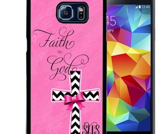 Monogrammed Rubber Case For Samsung S5, S6, S6 edge, S6 Edge Plus, S7, S7 Edge,  8, 8 plus - Faith In God Cross