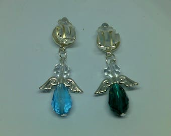 Contrasting Angel Wings - Clip On Earrings