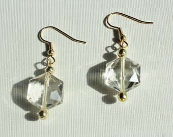 Clear Austrian Crystal and Gold Earrings
