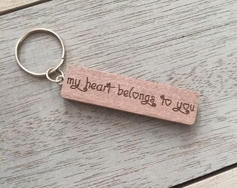 Valentines Personalised keyring wood love heart