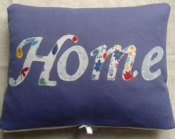 Organic Cotton Cushion in Blue with  'HOME' word applique