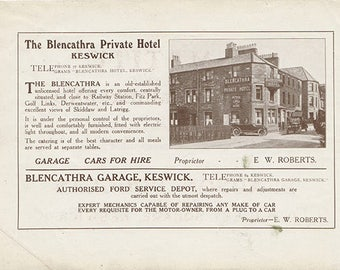 Original 1912 Keswick Advert - double sided - Goldsmiths, Blencathra, lake District