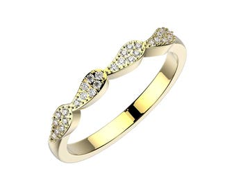 Ocean wedding band - yellow gold
