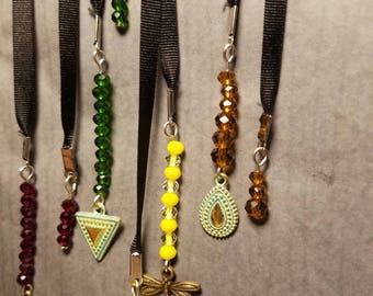 Handmade Bookmarks. Small colorful Crystal beads with soft Black robbon. Multiple colors and sizes.