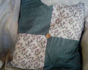 "Patchwork 18x18"" square cushion, Scottish Thistles"