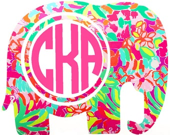 Lilly Pulitzer Inspired Tropical Elephant Car Monogram Decal Sticker