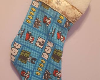 Mario/ princess peach/ 8 byte/ coins/ Luigi/ bowser/ wario/ yoshi/ donkey kong/ daisy/ mushrooms/  stockings/ christmas/ nerdy