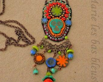 "Amulet ""Dias de los muertos"" turquoise"