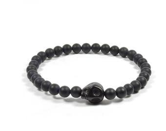 6mm Onyx and Black Skull Bracelet