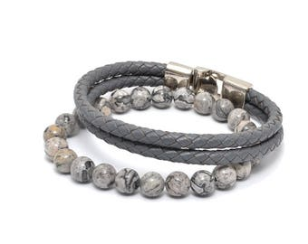 Marble and Leather Bracelet Pack in Gray Bracelet Set