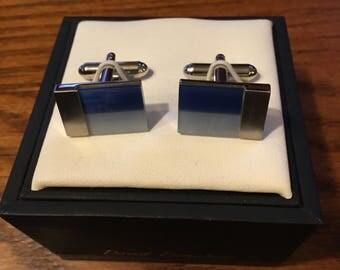 Deux tons de bleu Pierre boutons de manchette en acier inoxydable