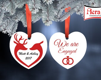 Engaged Ornament Aluminium two Sided Heart Shape