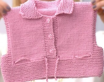 Kuzzy Design Baby Knit Pink Vest,Knit Vest,Pink Vest,Newborn Vest,Handmade Vest