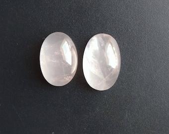 Rose Quartz 02 Pieces Lot, Natural Rose Quartz Gemstone Lot, Oval Shape Rose Quartz, Smooth Super Shiny, Jewelry Cabochon for Designer Cab.