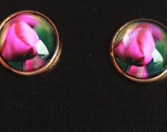 Pink Tulips Stud Earrings