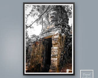 Temple Statue Wall Art Print Poster - Ruins / Buddhist / Khmer / Tome Raider / Style / Cambodia / Ink / Brown