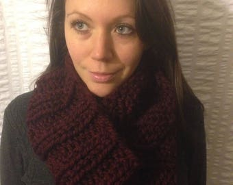 Dark Red Knit Infinity Scarf, Chunky Ribbed Cowl
