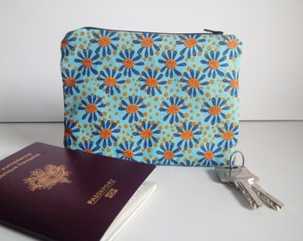 Wallet made with african ankara fabric - bleu and golden flowers