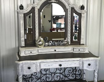 Sold Example Farmhouse Style Antique Make Up Vanity