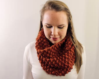 Knitted Infinity Scarf in Pumpkin {Wool Scarf, Chunky Knit Scarf, Pumpkin Spice Orange Scarf}