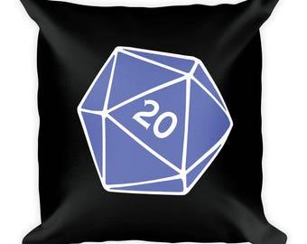 Blue D20 Pillow