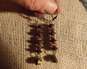 Coffee Cup & brown cat's eye dangle earrings!
