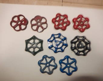 9 smaller aluminum valve handles.  Approximately 2 inches round. Steampunk, DIY.
