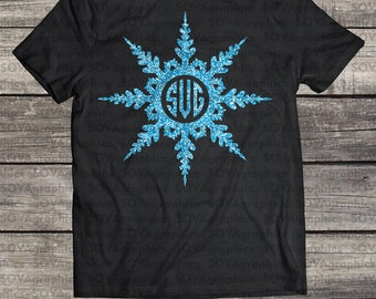 Snowflake svg, winter svg, Christmas svg, snowflake monogram svg, SVG, DXF, EPS, Snow svg, silhouette, cricut