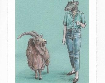 "Art Print / Alligator Lady and Goat / ""Alligator Weekend"""