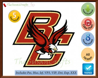 Boston EAGLES EMBROIDERY DESIGNS Pes, Hus, Jef, Dst, Exp, Vp3, Xxx, Vip