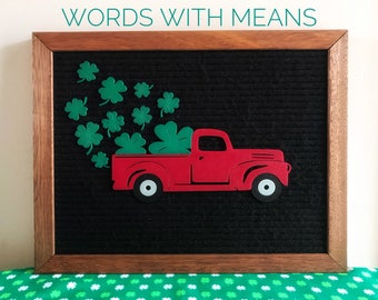 Red Truck with Clovers