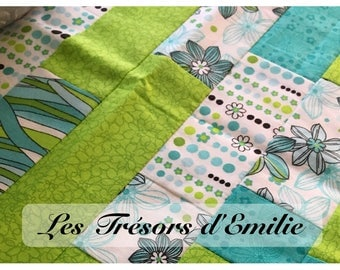 Turquoise and green patchwork table runner
