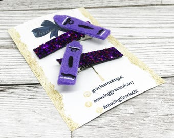 Fringe Clips, School Fringe Clips, Small Accessories, Novelty Clips, Purple Hair Clips, Children's Hair Clips, Hair Accessories