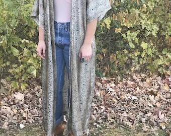 Leopard print robe kimono