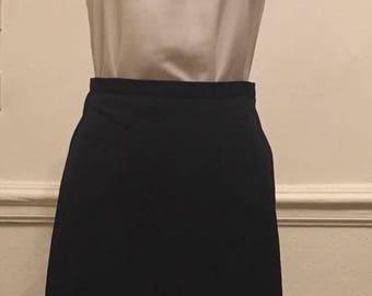 Blue navy vintage midi skirt at work