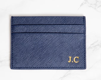 Customised Genuine Saffiano Leather Credit Card Holder in navy blue, Personalised Monogrammed Embossed initials Double card holder, wallet