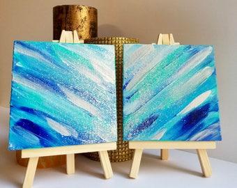 Mini Painting, mini art, tiny painting, tiny art, small canvas art, mini canvas art, small blue painting, 4x4 painting, small painting, art