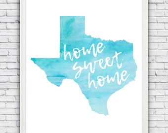 "Texas ""Home Sweet Home"" - wall art print (w/ optional frame) - FREE shipping!"
