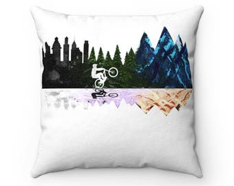 Go To The Mountains Faux Suede Square Pillow