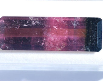 Watermelon Tourmaline, bicolor Faceted,  Deep Green, through Pink Color, 19.4ct, 31 x 11 mm, C2407