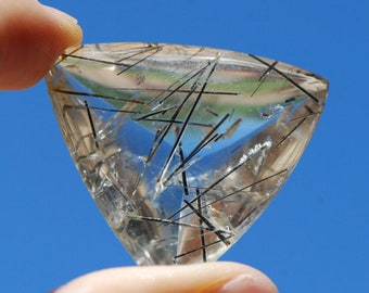 Tourmalinated Quartz, Cabochon, Large, Black Tourmaline needles, crystals in natural clear quartz, 36 x 32mm triangle,  Brazil