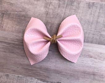 Baby pink faux leather bow, baby headband, alligator clip, nylon headband