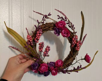 8-inch pink and purple floral wreath